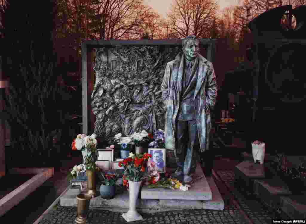 The elaborate grave of actor Vyacheslav Tikhonov, who played a spy in a famous Soviet television series.