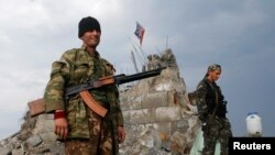 Пророссийские сепаратисты в Донецке. 28 августа 2014 года.
