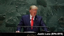 U.S. President Donald Trump speaks during the 74th Session of the United Nations General Assembly at UN Headquarters in New York on September 24.