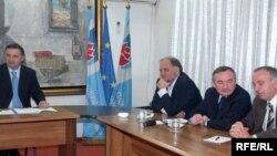 Sa prepalih pregovora opozicije: Srđan Milić, Ranko Kadić, Branko Radulović, Amer Halilović, Foto: Savo Prelević