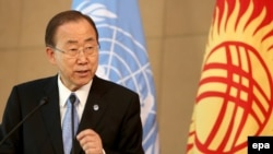 UN Secretary-General Ban Ki-moon in the Kyrgyz capital, Bishkek, on June 11