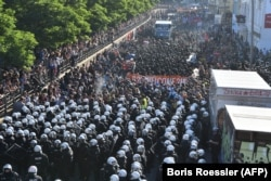 About 13,000 protesters took to the streets of Hamburg on July 6, accompanied by thousands of riot police.