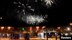 Խորվաթիա - Բրեգանայի սահմանային անցակետում հրավառությամբ տոնում են երկրի անդամակցությունը Եվրամիությանը, 1-ը հուլիսի, 2013թ․
