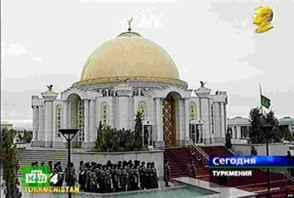 "The Niyazov family mausoleum in Kipchak, where Niyazov's body was laid to rest on December 24 (AFP) - ""Saparmurat Niyazov was buried in a family mausoleum at the Spirituality Mosque in his native village of Kipchak, 15 kilometers from Ashgabat,"" Drabok reported."