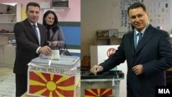 Лидерите на СДСМ и на ВМРО ДПМНЕ Зоран Заев и Никола Груевски гласаат на парламентарните избори во 2016 година