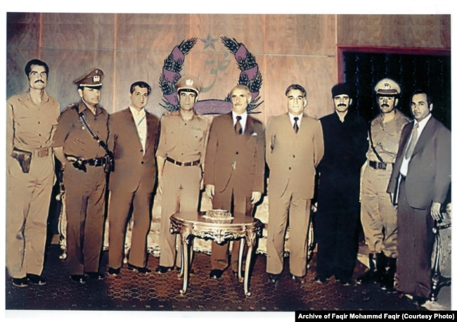 The leadership of the People's Democratic Party of Afghanistan in 1978. Faqir is standing on the right.