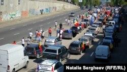 Protesta me vetura në Moldavi.