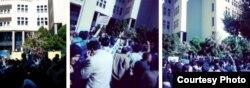 تجمع در مقابل دادگستری اصفهان. ۳۰ مهر ۹۳. (عکس از توئیتر).