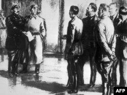 """Рисунок """"Большевики предъявляют ультиматум членам Временного правительства"""""""