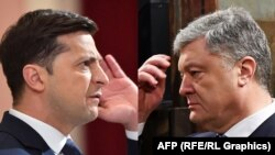 Ukrainian President Petro Poroshenko (right) and his election challenger Volodymyr Zelenskiy (combination file photo)