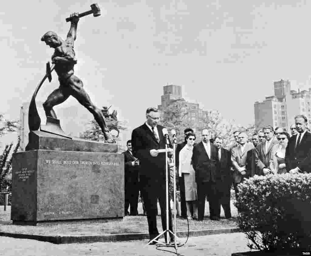 The unveiling of a Soviet sculpture, called Let Us Beat Swords Into Plowshares, in the United Nations Garden in New York in 1960. The sculptor behind the work also created the iconic The Motherland Calls monument.