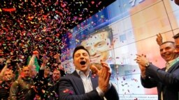 UKRAINE -- Ukrainian showman and comedian, and Presidential candidate Volodymyr Zelensky (?) reacts at his campaign headquarters following a presidential elections in Kiev, Ukraine, on April 21, 2019.
