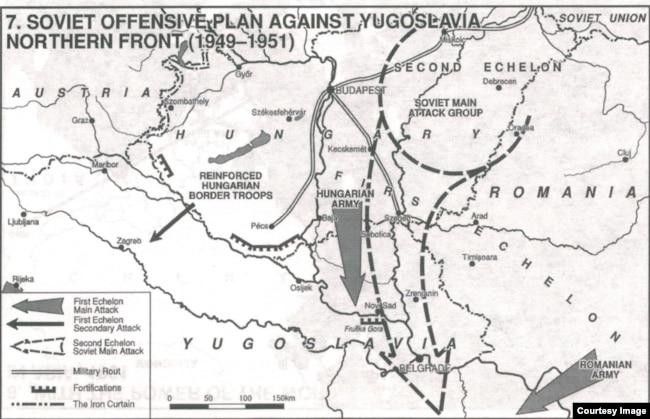 Согласно свидетельству генерала Белы Кирая (Király Béla), сталинский план похода на Югославию заключался во вторжении вооружённых сил минимум трёх государств: Венгрии, Румынии и СССР.
