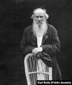 Russian novelist Leo Tolstoy, photographed on his estate in the countryside east of Moscow in 1908, on the great author's 80th birthday.