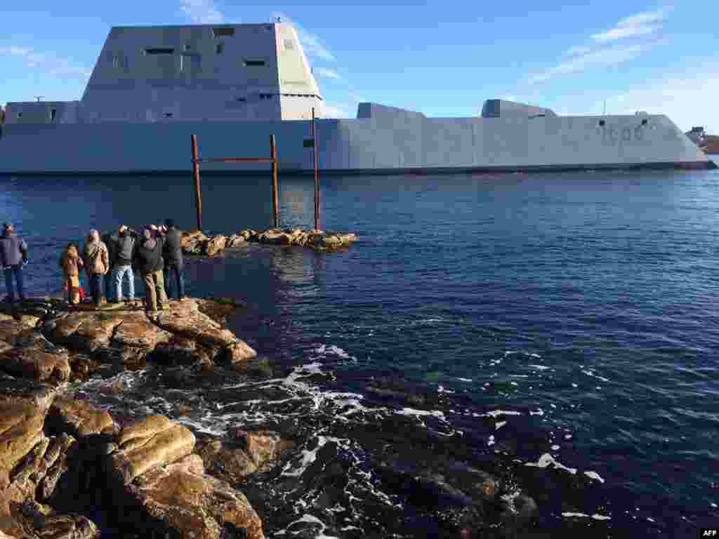 The U.S.S. Zumwalt, a new destroyer, begins sea trials in Massachusetts prior to joining the U.S. Navy's fleet. (AFP)