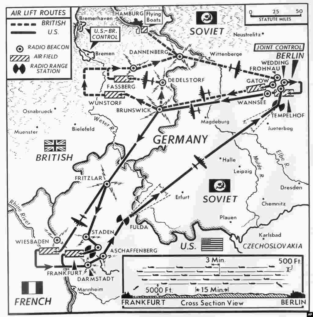 Most U.S. planes used the southern corridor, which connected Frankfurt and Tempelhof, the American-operated base in the heart of the city. All British planes and about 40 U.S. planes used northern corridor, running southeast from the Hamburg area and landing at British-operated Gatow airfield in West Berlin. Planes flew 24 hours a day, seven days a week, and would land as often as every minute.