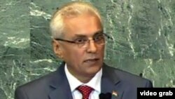 Tajikistan -- Hamrohkhon Zarifi, Tajik Foreign Minister in UN General Assembly, Dushanbe, 27Sep2011
