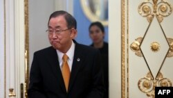 United Nations Secretary General Ban Ki-moon enters a hall in the Kremlin in Moscow on March 20.