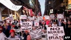تظاهرات مخالفان توافق هسته ای با ایران در نیویورک، عکس تزئینی است