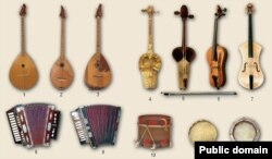 Музыка кораллары: думбра (1-3), кылкубыз (4-7), гармун (8-9), барабан (10-12)