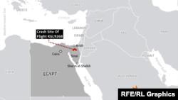Vendi ku është rrëzuar avioni rus. Sinai, Egjipt, 31 tetor 2015.