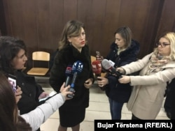The head of Kosovo's election commision, Valdete Daka, speaks to reporters on November 19.