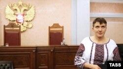 Надежда Савченко на заседании суда по делу украинцев Николая Карпюка и Станислава Клыха в Москве