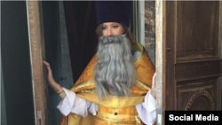 Ksenia Sobchak dressed up like a priest -- complete with a flowing, fake gray beard -- in a photograph posted on Instagram in April.