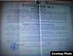 Decizia Consiliului Comunal al comunei Hotin, județul Hotin, de a conferi generalului Alexandru Averescu titlul de Cetățean de Onoare al Comunei Hotin și dispoziția ca o stradă să-i poarte numele (1 aprilie 1927, Sursă: Arhivă Personală Silvia Corlăteanu-Granciuc)
