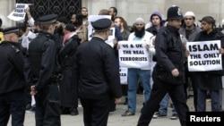 Акция протеста в Лондоне против выдачи Абу Хамзы