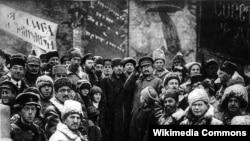 Каменев, Ленин и Троцкий на Красной площади, 1919 год