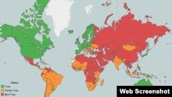 Աշխարհում մամուլի ազատության քարտեզը ըստ Freedom House-ի զեկույցի, ապրիլ, 2015թ․