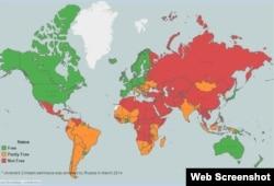 Карта, отражающая уровень свободы слова в мире, по версии доклада Freedom House.
