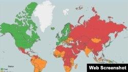 Скриншот интерактивной карты свободы прессы в мире. На основе доклада международной правозащитной организации Freedom House, 29 апреля 2015 года.