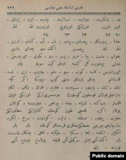 سیاحتنامه چلبی، نمونه واژگان فارسی با ترجمه ترکی (۱۶۵۰)