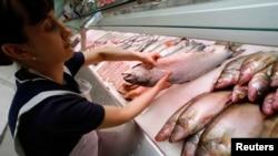Продавец раскладывает в супермаркете рыбу из Норвегии, поставки которой в Россию с 7 августа 2014 года запрещены.