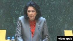 Salome Zurabishvili speaking to parliament on March 4.