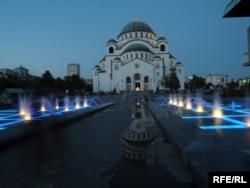 Строительство самого большого православного храма на Балканах продолжается не первое десятилетие. Фото 2008 года