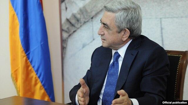 Armenia - President Serzh Sarkisian speaks at the Ministry of Urban Development in Yerevan, 14Feb2014.