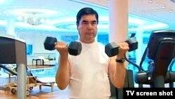 Turkmen President Gurbanguly Berdymukhammedov has made physical excercise a hallmark of his extravagant personality cult.