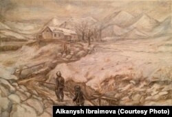 Иллюстрации к произведению «Ранние журавли» Ч. Айтматова. Автор работ Айканыш Ибраимова