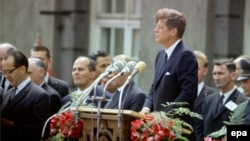 U.S. President John F. Kennedy delivers his famous speech in West Berlin on June 26, 1963.