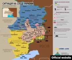 Мапа ситуації у зоні АТО за 17 липня 2014 рік, опублікована українською стороною