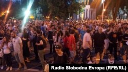 Hundreds of people took part in protests in the Macedonian capital, Skopje, on May 8.