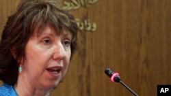 EU foreign policy chief Catherine Ashton speaks during a press conference in Amman on September 1.