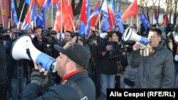 Митинг коммунистов против европейской интеграции Молдовы. Кишинев, 28 ноября 2013 года.