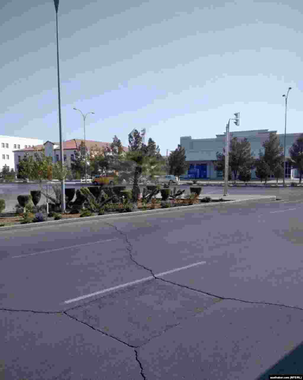 Turkmenistan. Empty streets of Mary. City. November 2020