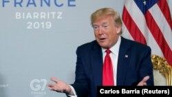 АҚШ президенті Дональд Трамп G7 саммиті кезінде. Биарриц, Франция, 26 тамыз 2019 жыл.