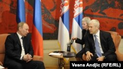 Владимир Путин и президент Сербии Борис Тадич на переговорах в Белграде