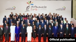 Participanții la al 16-lea summit al Francofoniei, la Antanarivo în 2016